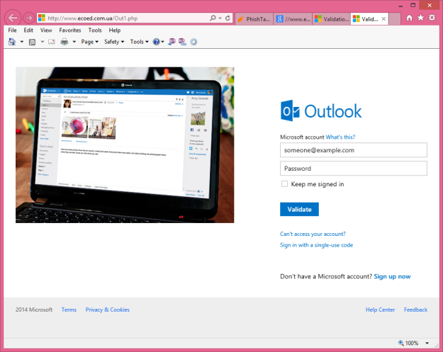 Outlook Login Phishing Site