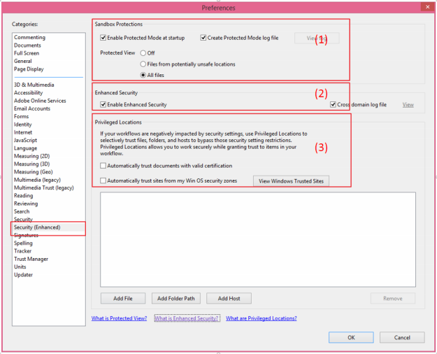 Adobe ReaderEnhanced Security Settings