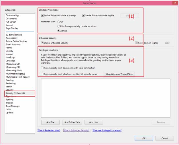 Adobe ReaderEnhanced Security Settings