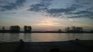Sunset on rhine ferry Leverkusen, 11/28/2014