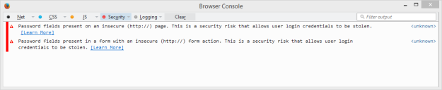 Firefox Browser Console Security Warning