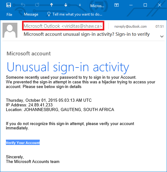 Phishing mail viewed in Outlook
