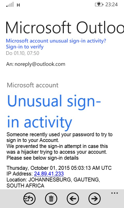 Phishing mail viewed in Windows Phone app