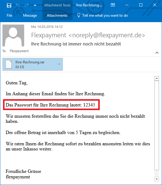 Password for opening rar Attachment in email body