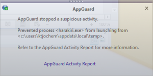 AppGuard blocked Execution Notification