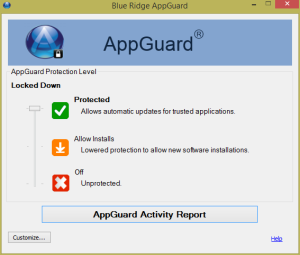 Blue Ridge Networks AppGuard Main Menu