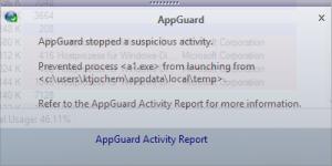 Appguard stops A1.exe