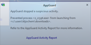 AppGuard stops ZCryptor