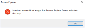 Process Explorer Error Message