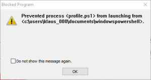 Blocked Program Message