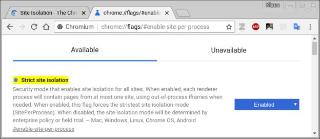 Chromium Strict Site Isolation Feature